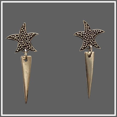 Silver starfish Triangle Post Earrings
