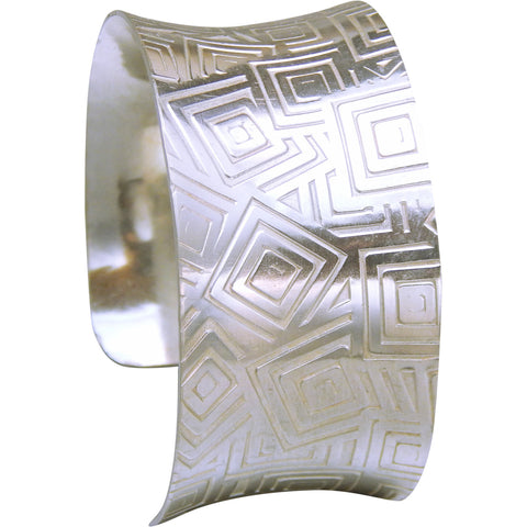 Silver Cuff Bracelet - Anticlastic Geometric Design - Marye Brenda Jewelry Designs