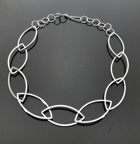Argentium Silver Marquise Square Link Necklace