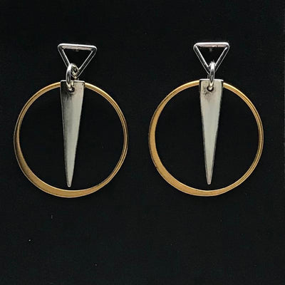 Sterling Silver Triangle with Gold Plated Circle Earrings