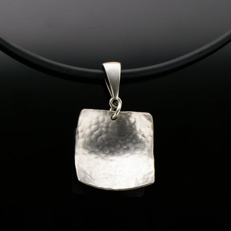 Sterling Silver Square Domed Necklace