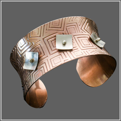 Copper and Silver Anticlastic Geometric Cuff by Marye Brenda