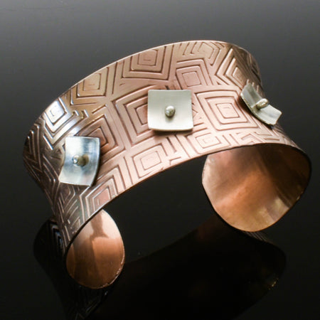 Copper and Silver Anticlastic Cuff
