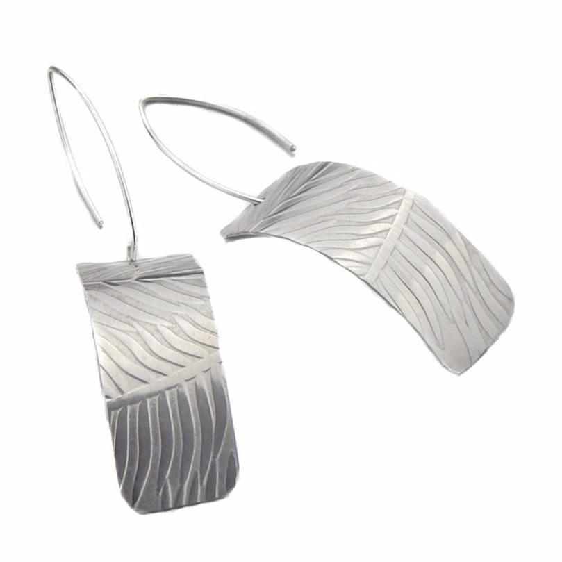 Silver Synclastic Earrings - Feather Design - Marye Brenda Jewelry Designs