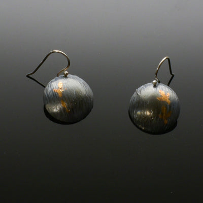 Keum Boo Domed Earrings with Leaf Design