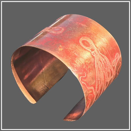 Copper Etched Octopus Cuff by Marye Brenda
