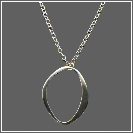 Sterling Silver Oval Contemporary Necklace