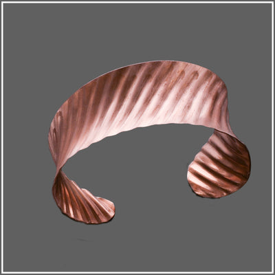 Marye Brenda Jewelry presents copper anticlastic corrugated swirling cuff bracelet