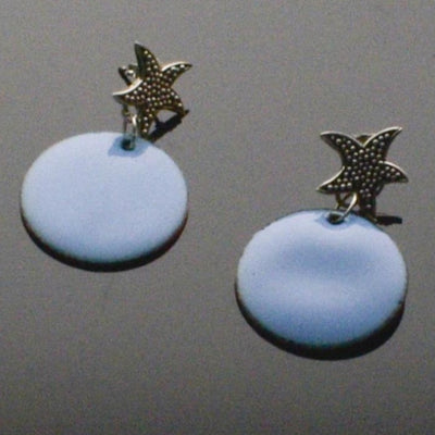 Sterling Silver Starfish Blue Enamel Earrings