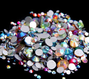350pcs 5Gram Mixed Size ss3-ss30 Blue/Green/Pink/White Opal 3D Crystal Nails Art Rhinestone,Flatback Glass Nail art Decoration