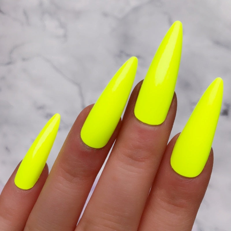 Neon Green Faux Ongles Long Stiletto Artificial Fake Nails With Glue Sticker Full Cover Halloween Impress Press On Nails False