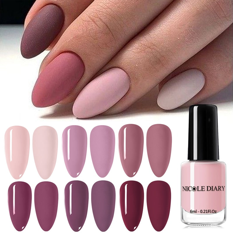 NICOLE DIARY Matte Effect  Nail Polish  Nail Color Pink Nail Art Oily Polish Varnish  Nail Art  Varnish