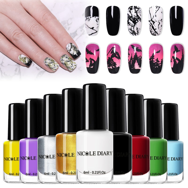 NICOLE DIARY Nail Stamping Polish Set Black White Gold Nail Art Printing Varnish  varnish DIY Design for Stamping Plate
