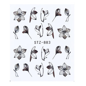1 Sheet Black White Leaf Nail Art Sticker Slider Flower Water Decals Decor Watermark Tattoo Manicure Accessories LASTZ808-815-1
