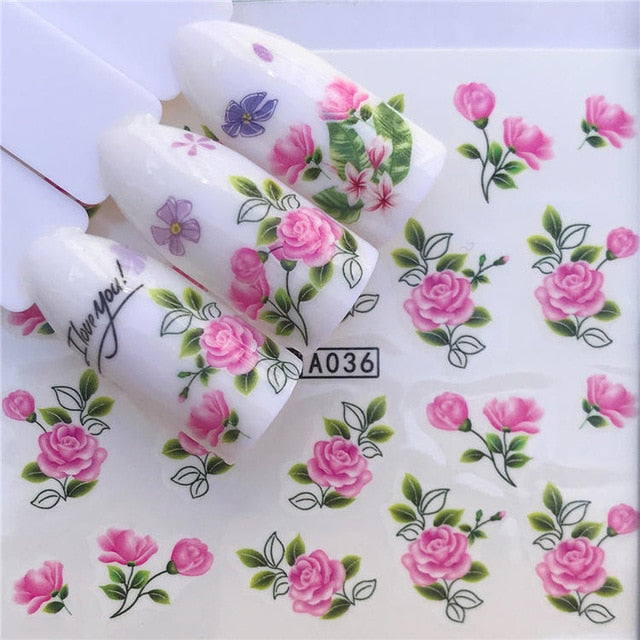 32 Designs Flamingo Fruit/Flower Series Nail Water Decals Dream ChaserPattern Tranfer Sticker  Nail Art Decoration
