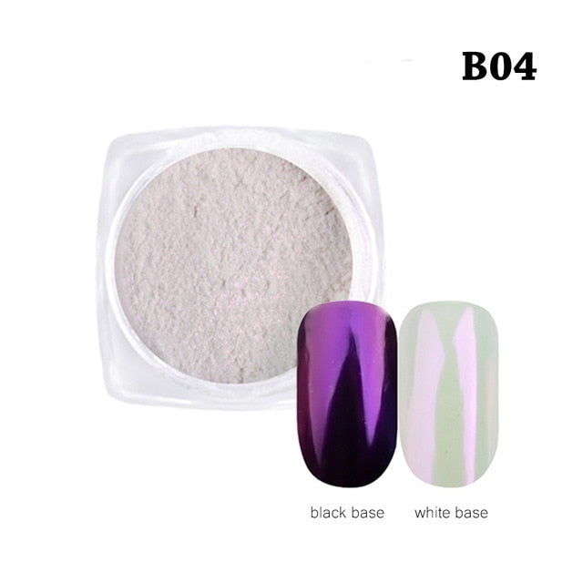 New Fashion 1Box Gradient Shining Nail Glitter Dust Magic Mirror Effect Powder DIY Decoration Dust Tools BEB01-07
