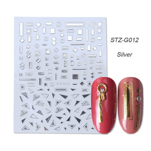 1pcs Gold Silver Sliders 3D Nail Stickers Straight Curved Liners Stripe Tape Wraps Geometric Nail Art Decorations BESTZG001-013