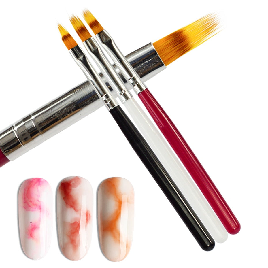 1pcs Nail Brush Pen UV Gel Gradient Bloom Nail Art Painting Wood Handle Nylon Hair Black White Red Draw Manicure Nail Tool JI285
