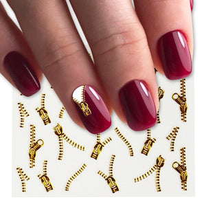 1sheets Gold Zipper 3d Designs Nail Art Stickers Decals Manicure Decor Tools DIY Nail Art Tips Fashion Accessories LAXF6021