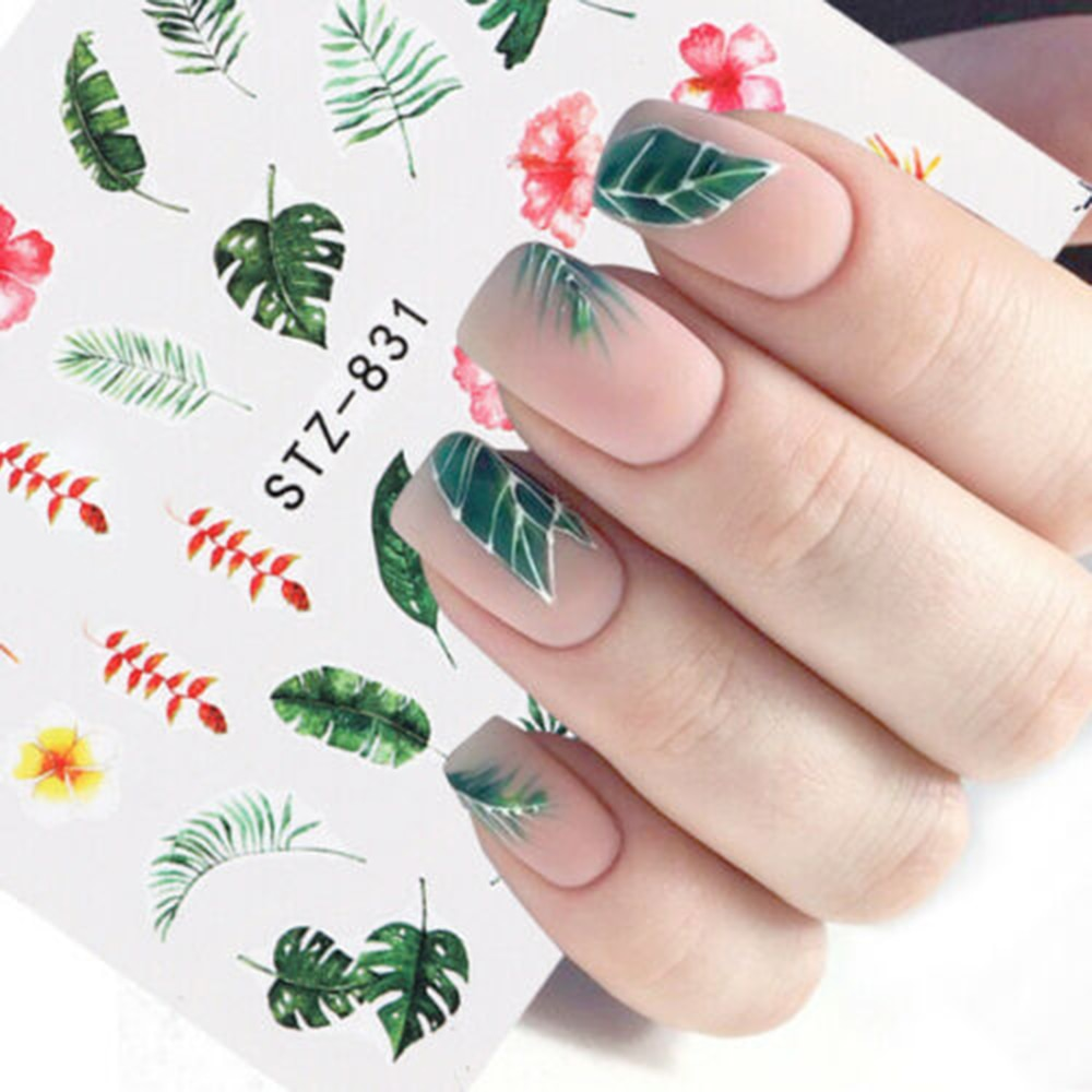 1Pcs Water Nail Decal and Sticker Flower Leaf Tree Green Simple Summer DIY Slider for Manicure Nail Art Watermark Manicure Decor