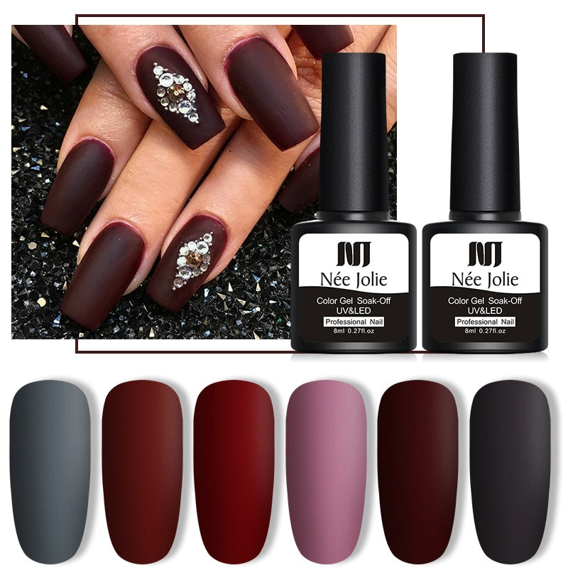 NEE JOLIE 8ml UV Gel Nail Polish Soak Off UV Gel varnish Fall And Winter Colors Varnish Nail Art Gel Polish 6 Colors