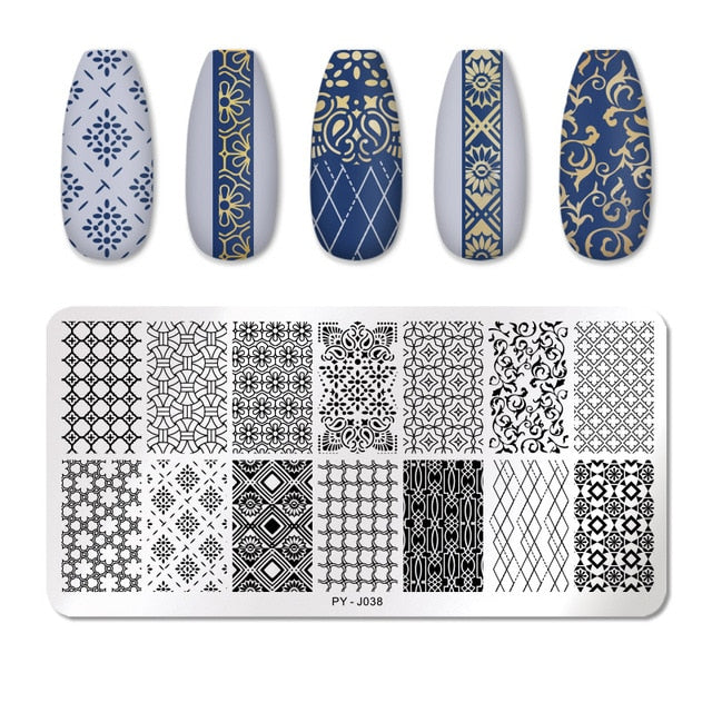 PICT YOU Nail Stamping Plates Line Pictures Nail Art Plate Stainless Steel Design Stamp Template for Printing Stencil Tools