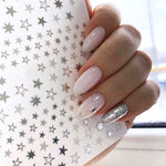 1pcs Lovely Stars Geometry 3D Nails Art Sticker gold/silver/rose gold Ornaments self-Adhesive Sliders Manicure Accessories new
