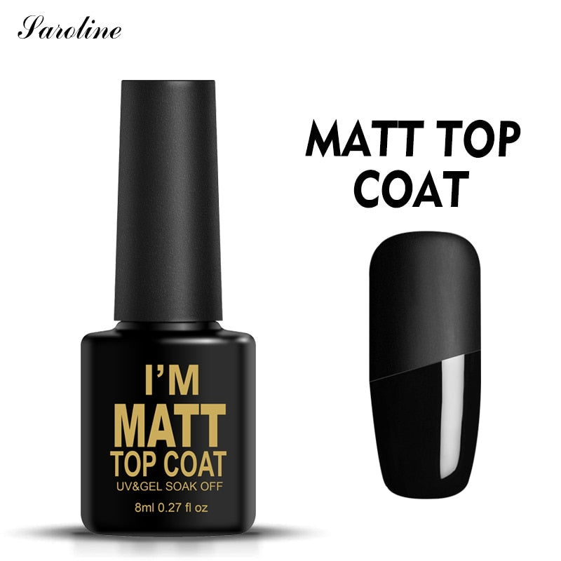 Saroline Matte Top Coat Gel Nail Polish Semi-permanent Scrub Nail Glue Soak Off UV Transparent Color Mat Nail Gel Design