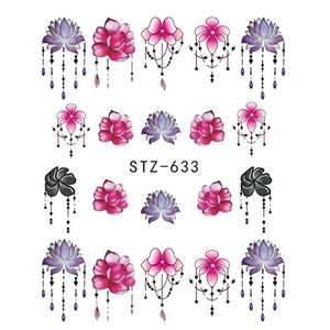 1pcs Nail Sticker Butterfly Flower Water Transfer Decal Sliders for Nail Art Decoration Tattoo Manicure Wraps Tools Tip JISTZ508