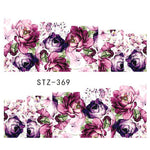 1 Sheet Water Transfer Women Full Cover Sticker Nail Art Decals Nail Art Beauty Purple Rose Decorations Polish Tips TRSTZ369-352