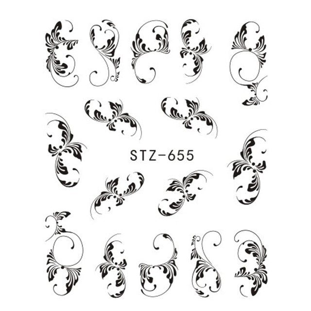 1pcs Nail Sticker Flower Water Transfer White Rose Necklace Jewelry Nail Water Decal Black Wraps Tips Manicure SASTZ609-658
