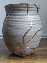 Load image into Gallery viewer, Granite with 18k Gold Vein Vase