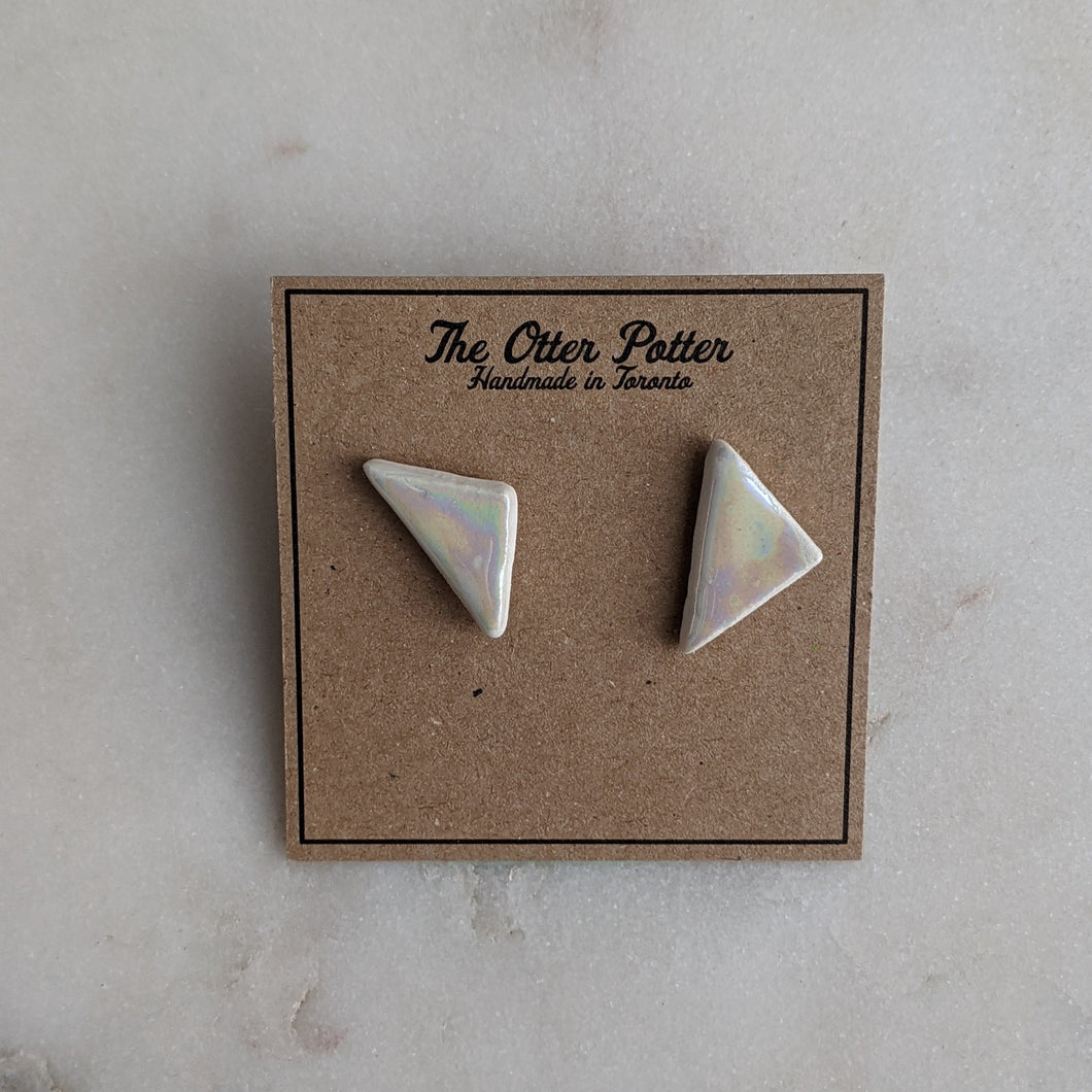 Large Pearl Triangle Earrings