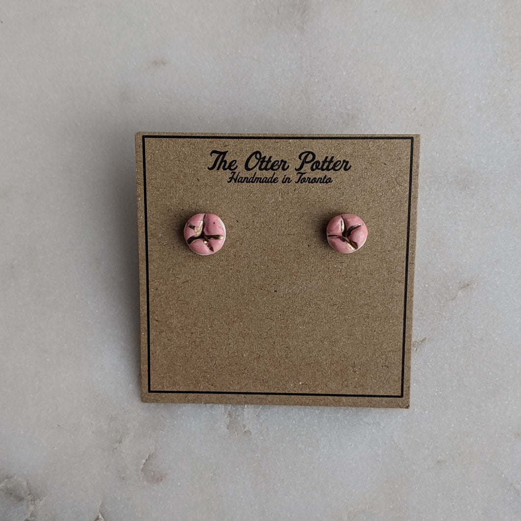 Pink and 18k Gold Star Earrings
