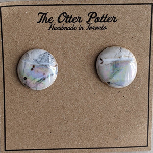 Round Marble Pearl Earrings