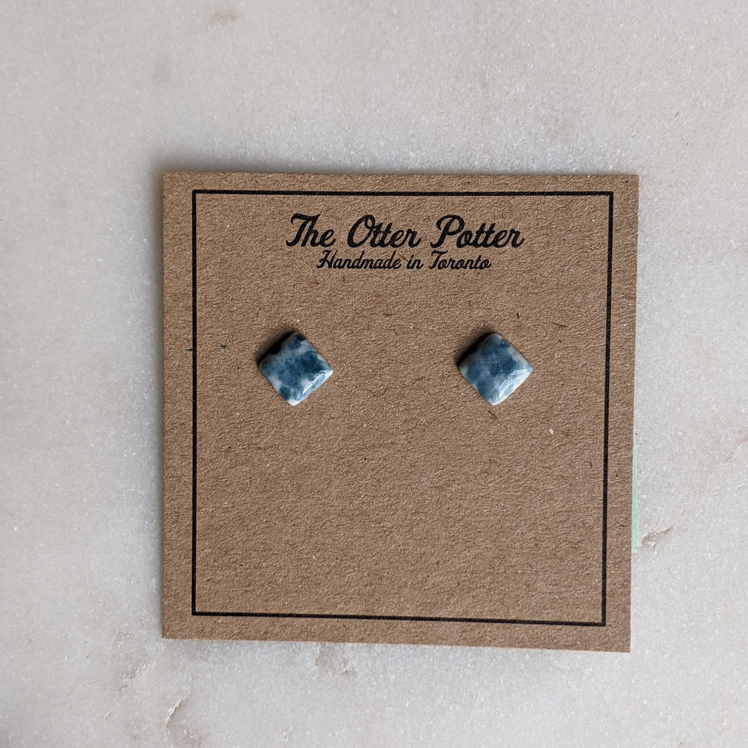 Bokeh Blue Square Earrings