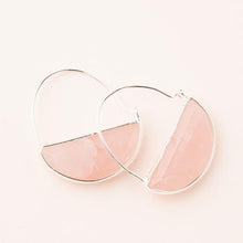 Load image into Gallery viewer, Scout Rose Quartz/Silver Prism Hoop Earrings