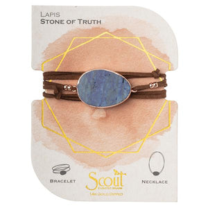 Scout Suede/Stone Wrap - Lapis/Rose Gold/Stone of Truth