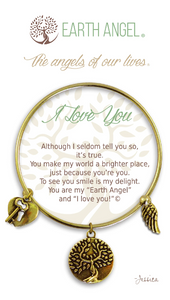 Earth Angel: I Love You Bracelet (Antique Gold/Brass)