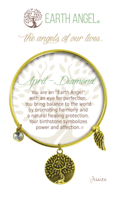 Earth Angel: April - Diamond: Birthstone Bracelet (Antique Gold/Brass)