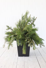 "Load image into Gallery viewer, 10"" Square Winter Planter - Base Greens"