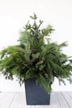 "Load image into Gallery viewer, 14"" Square Winter Planter - Base Greens"