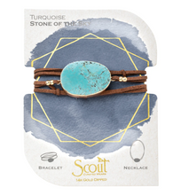 Load image into Gallery viewer, Scout Suede Wrap - Turquoise/Gold/Stone of the Sky