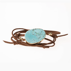 Scout Suede Wrap - Turquoise/Gold/Stone of the Sky