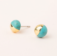 Load image into Gallery viewer, Scout Turquoise/Gold Stud Earrings