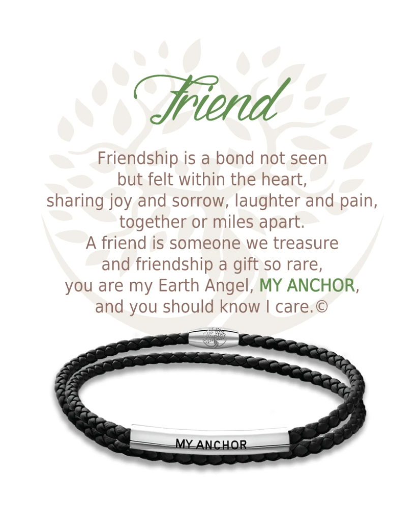 Earth Angel: Friend Bracelet (Black Leather)