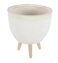 Load image into Gallery viewer, Fiber Clay Wood White Planter (3 Sizes)