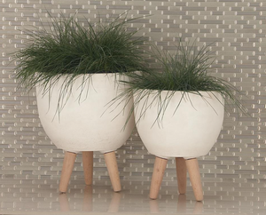 Fiber Clay Wood White Planter (3 Sizes)