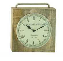 Load image into Gallery viewer, 10x11 Wood Metal Table Clock