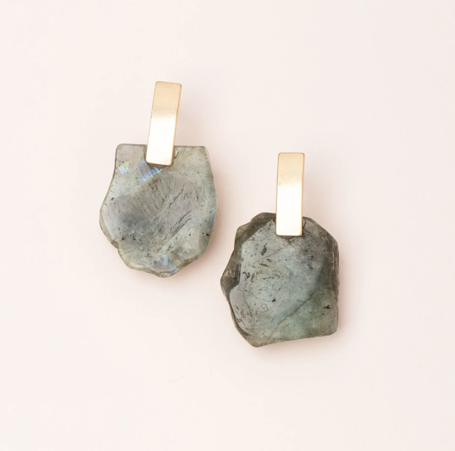Scout Stone Slice Earring Labradorite/Gold